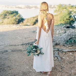 Sundress Silk Halter Dress Beach Cover up *flaw